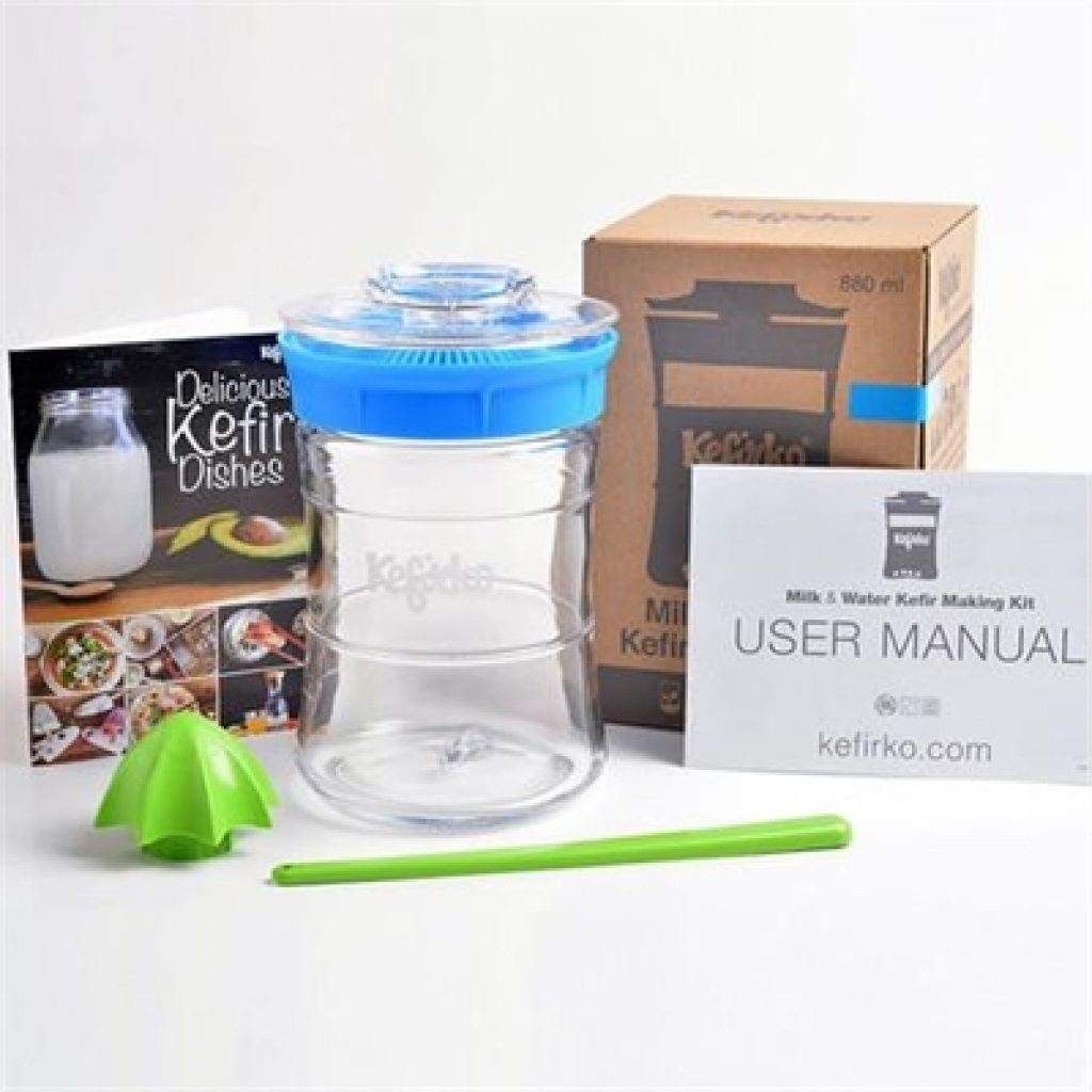 Kefirko Kefir & Kombucha Maker Mega Kit - *WHITE LID* Mega Kit + 15g Dried Vegan Water Kefir Grains